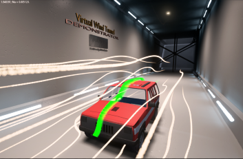 a virtual wind tunnel developed in Unreal Engine 4 software in which the user can explore the simulated air flow as it evolves