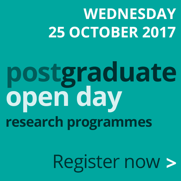 Postgraduate Research Open Day. Come and visit us on 25 October.