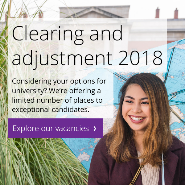 Clearing and adjustment 2018. We're offering a limited number of places to exceptional candidates.