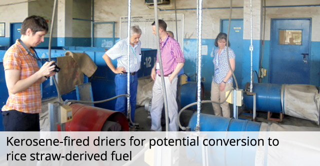 Kerosene-fired driers for potential conversion to rice straw-derived fuel